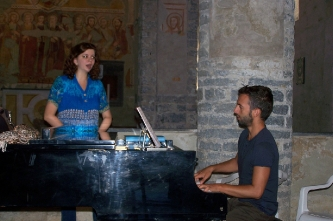 7. Rehearsing with Giorgio Martano (Italy, Montalto Ligure (IM), chiesa di San Giorgio, 2013).